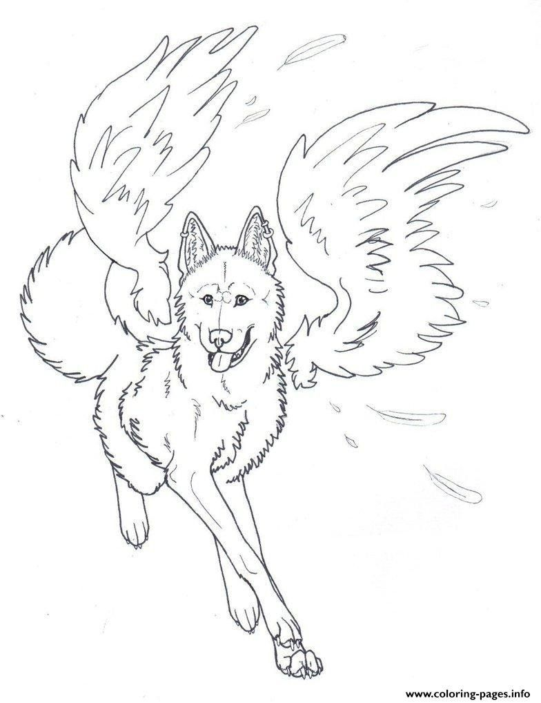 Cute Wolf Coloring Pages Winged Wolf Angel Coloring Pages Printable Angel Coloring Pages Detailed Coloring Pages Train Coloring Pages