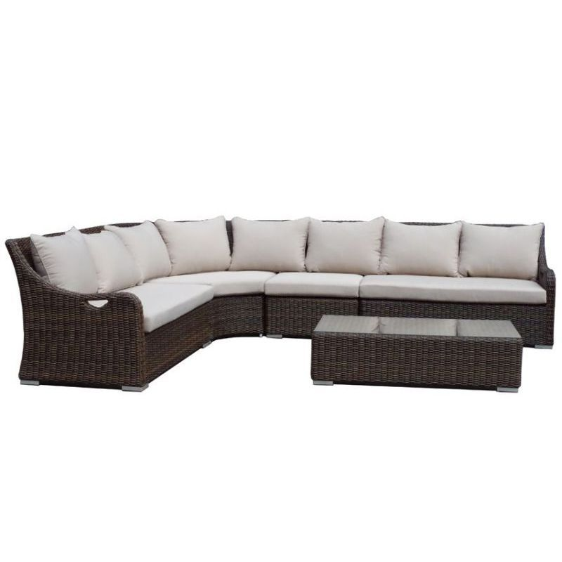 Oasis 4 Seater Garden Lounging Table And Chairs Set: Randwick Outdoor Wicker 6 Seat 4 Lounge Set Brown