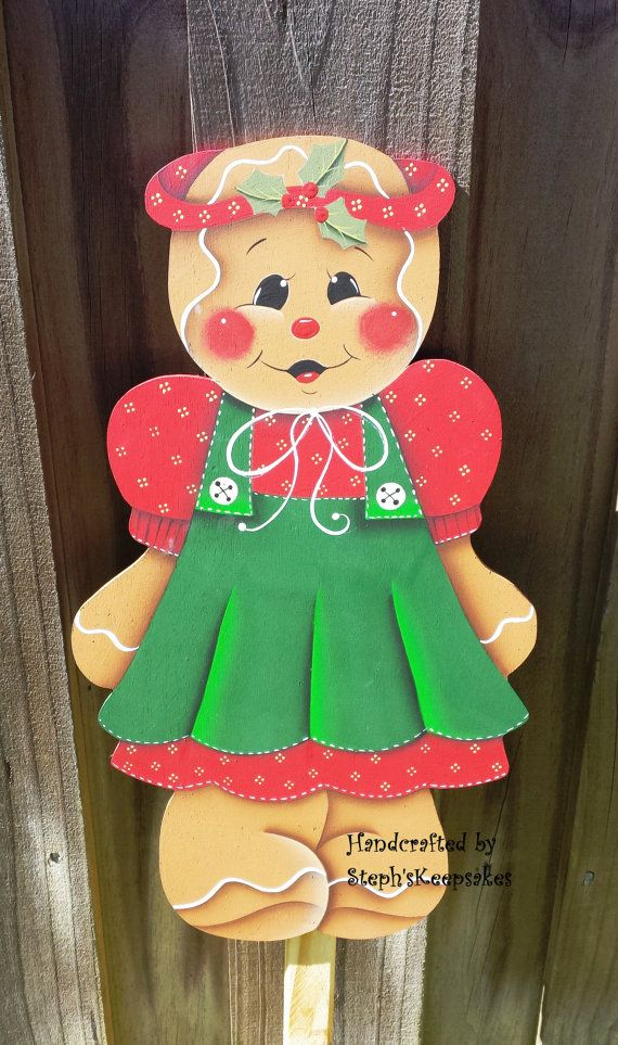 Hand Painted Wooden Gingerbread Garden Yard Stake Welcome Sign