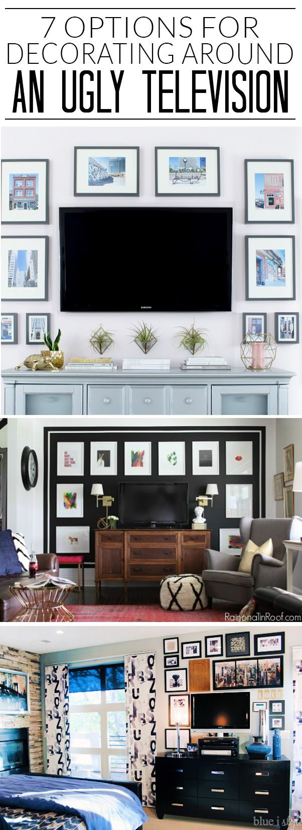 I never know how to decorate around the TV, but I'm loving all 7 of these  ideas. I think I'm going to try the 5th … | Decor around tv, Tv decor,