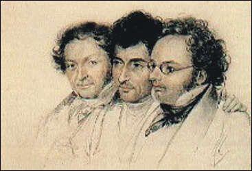 Three friends (Johann Baptist Jenger, Anselm Hüttenbrenner und Franz Schubert),1827 by Josef Eduard Teltscher (1801–1837)