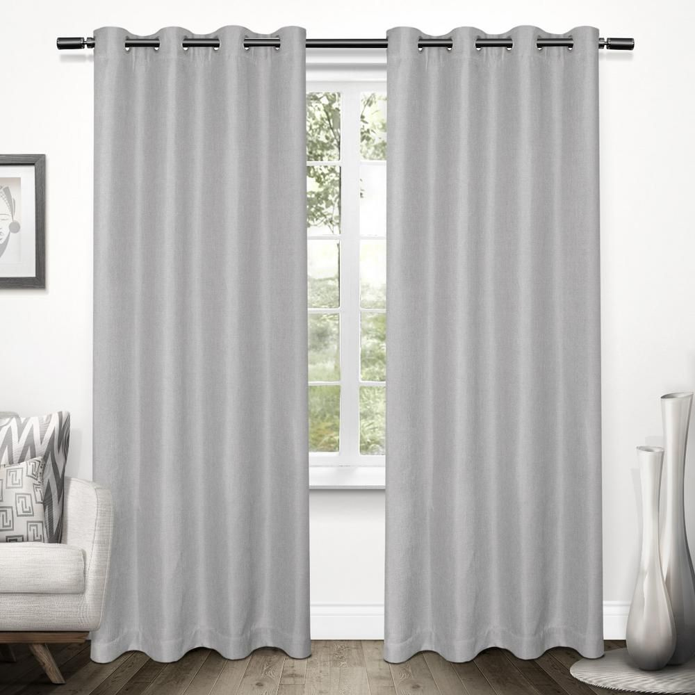 Tweed 52 In W X 96 In L Woven Blackout Grommet Top Curtain Panel