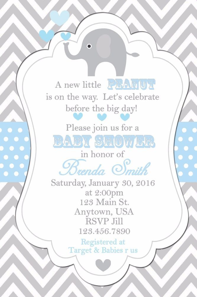 Baby Shower Invitation, Elephants Invitation, Baby Shower ...