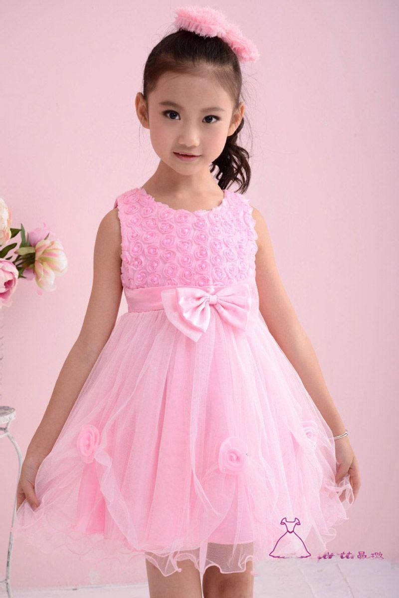 2a504341d1c6 Girl princess dresses summer 2016 brand girl Party princess dresses flowers  bow sleeveless kids princess dress for girls clothes
