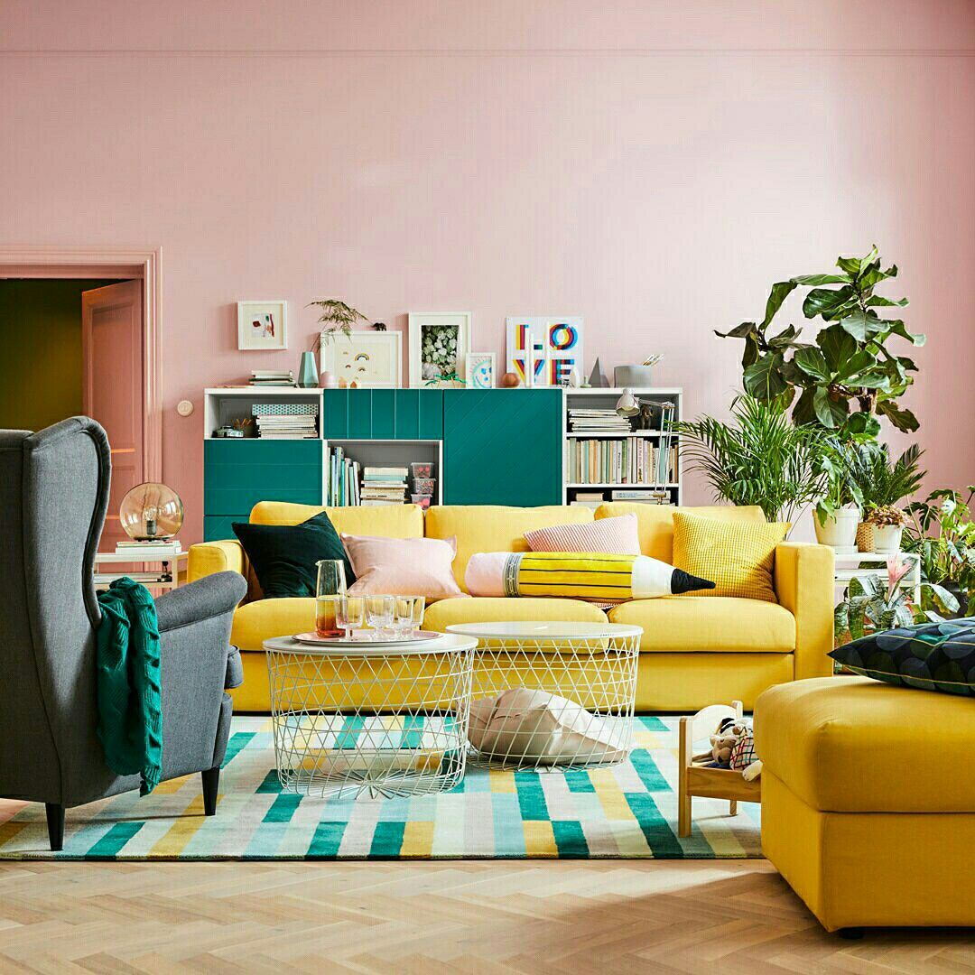 Paredes Rosa Millennial Com Sofa Amarelo Ikeausa Ikea Sala De