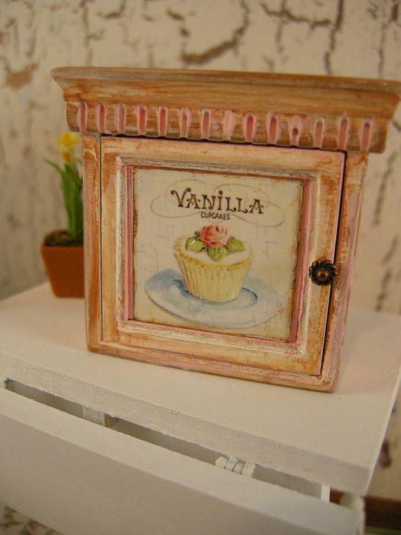 Miniature dollhouse cabinet