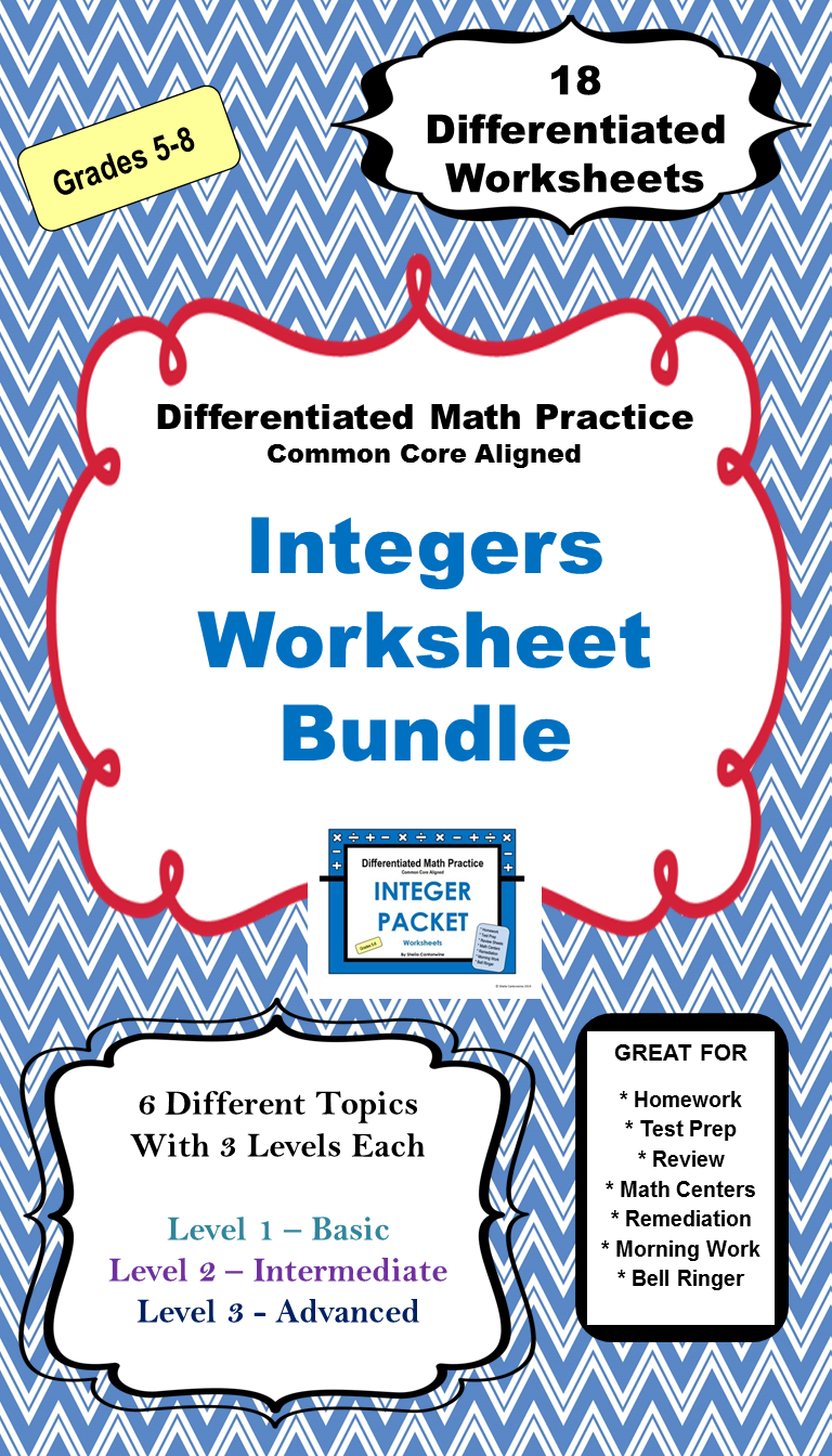 Integers Worksheet BUNDLE (Differentiated) | Differentiated Math ...
