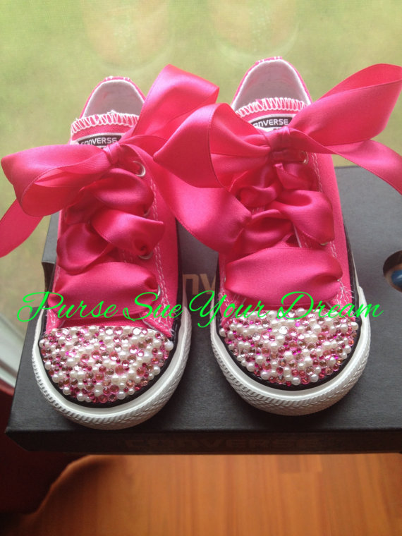 Swarovski Crystal Rhinestone And Pearl Designed Converse - Pageant ... d53ce987e