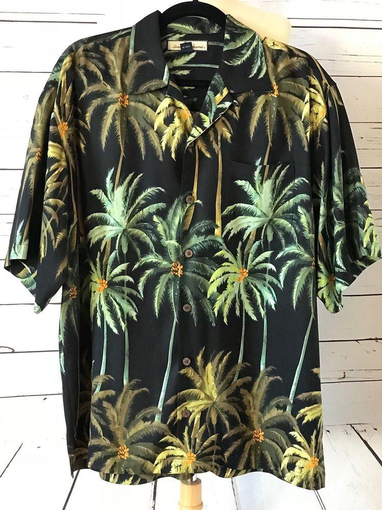 9f09c02e TOMMY BAHAMA Mens 100% Silk Palm Print Hawaiian Shirt Size M #TommyBAHAMA # Hawaiian