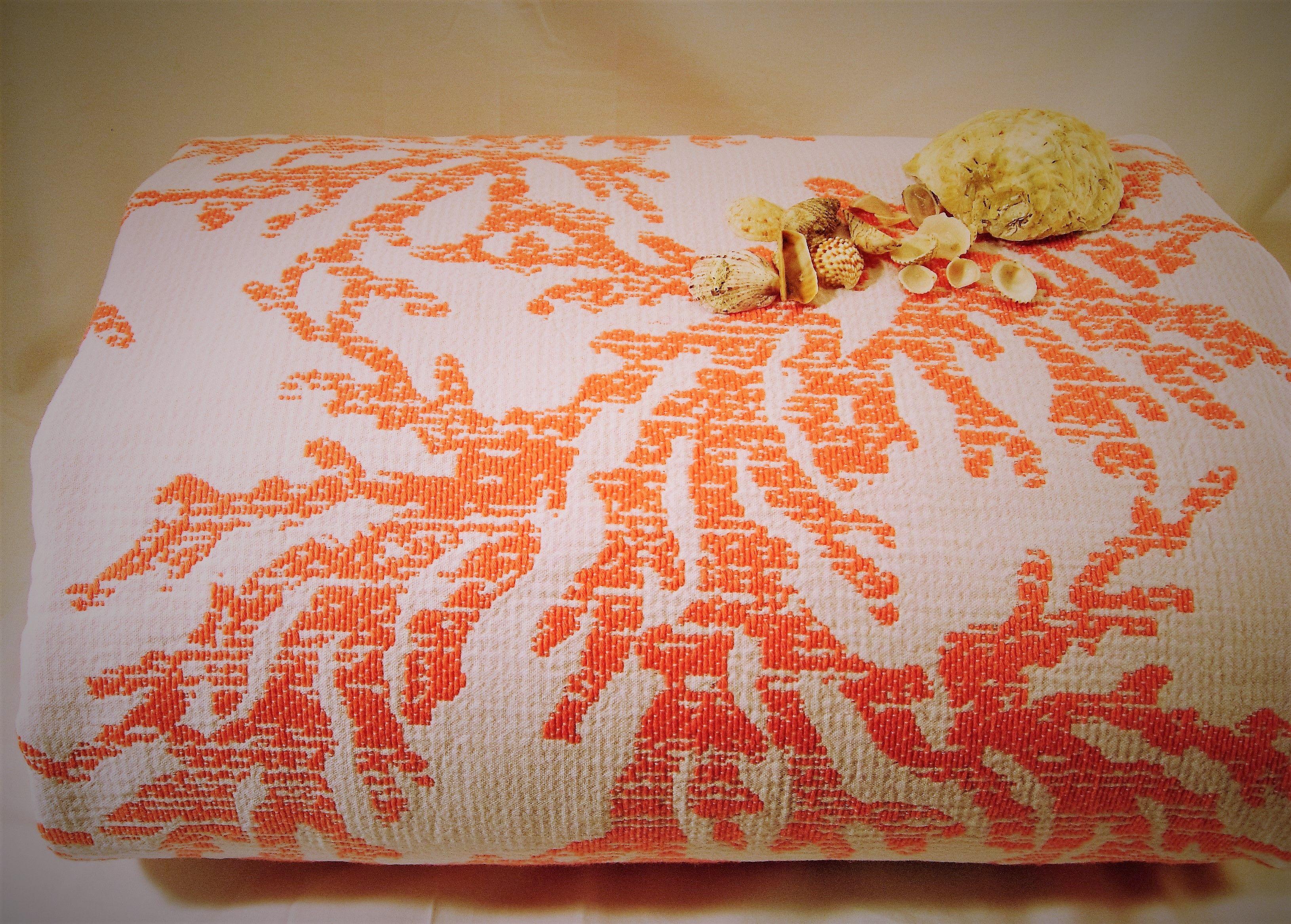 Copriletto con coralli tessuto piquet di puro cotone - Tessuto per copriletto ...