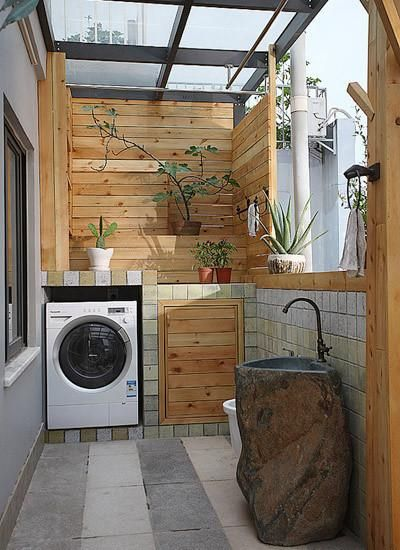 Wooden Balcony With Sink And Washing Machines 阳台balcony