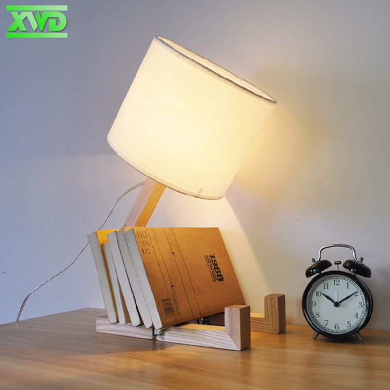 Moderne Support En Bois Forme De Belle Robot Lampe E27 Table j4L3RA5