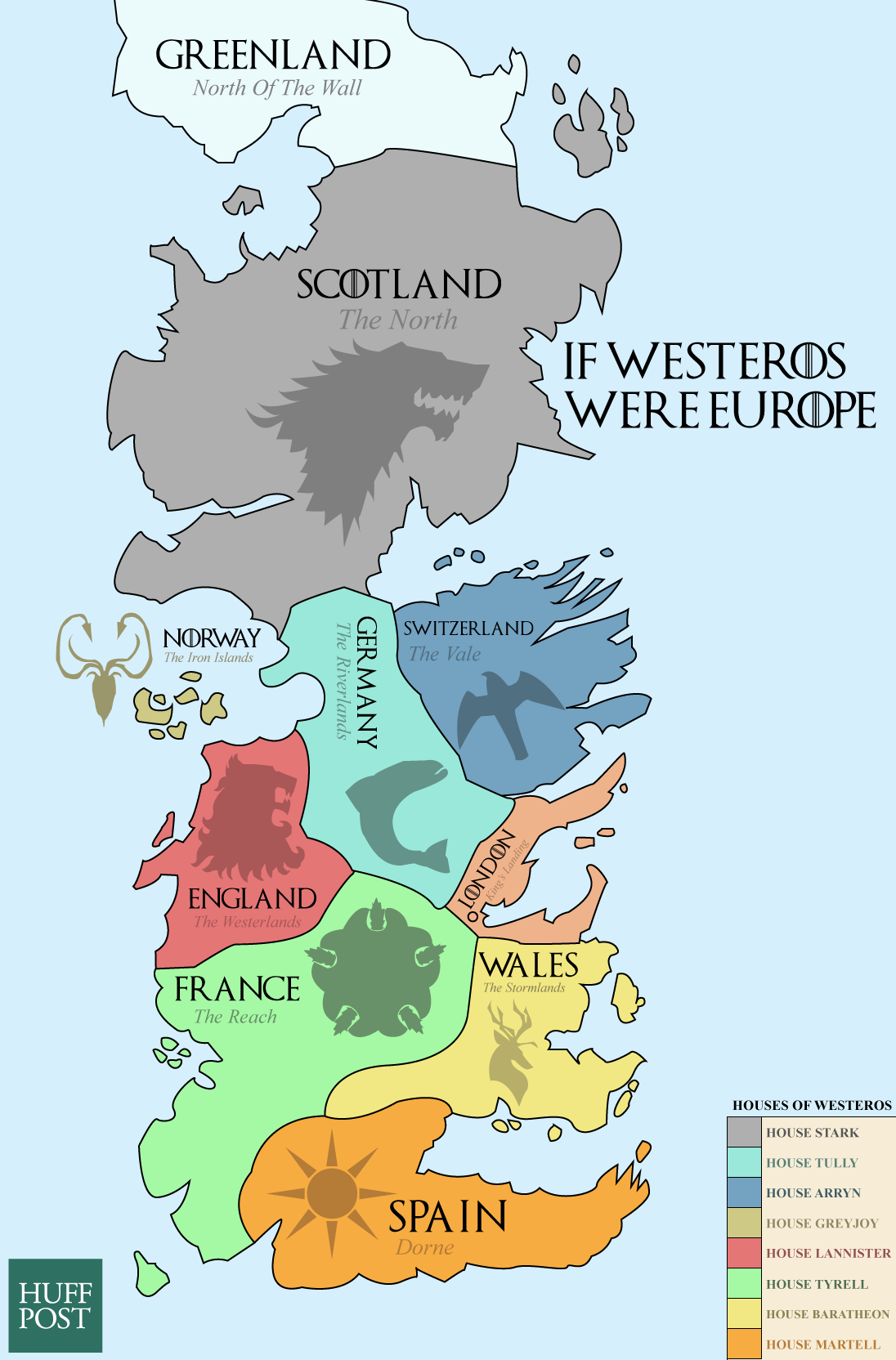 This map shows the real world equivalents of the seven kingdoms this cool game of thrones map shows what it would look like if westeros were europe gumiabroncs Image collections