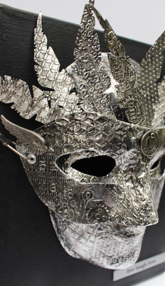 Kemper faux metal superhero mask  Auction item - Superhero Theme - Give Kids the World - Art Is You Mixed Media Art Retreats Fall 2014
