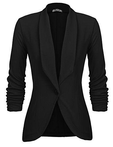 Beyove Womens 34 Stretchy Ruched Sleeve Open Front Lightweight Work Office Blazer Jacket