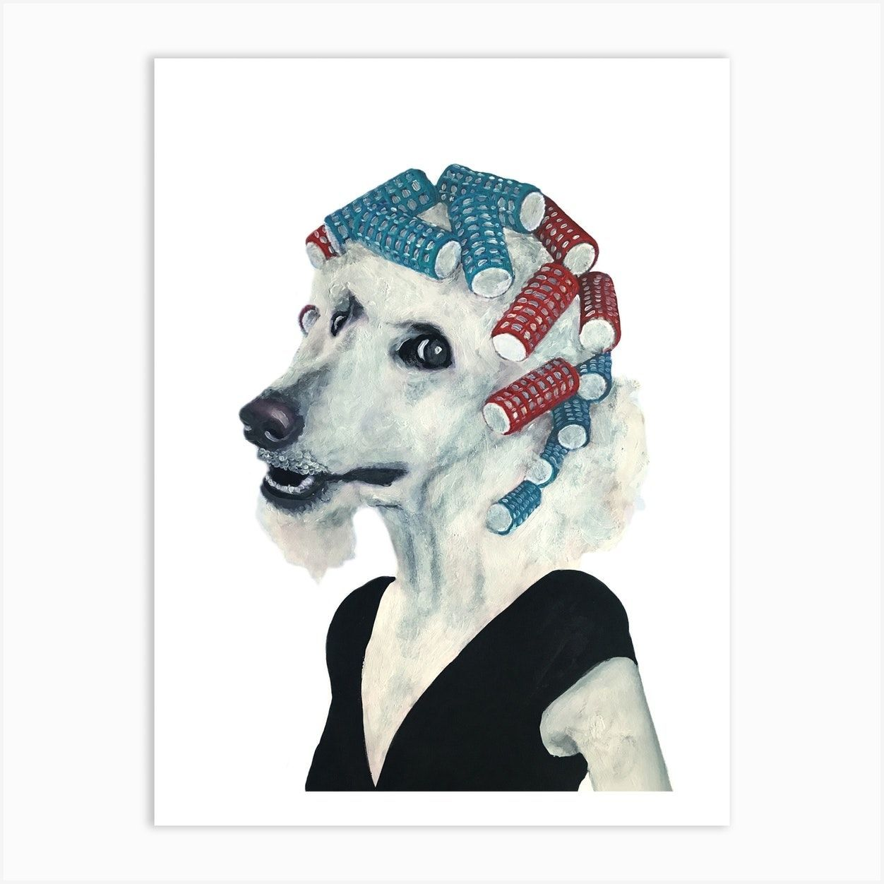 Poodle With Haircurles Art Print#art #haircurles #poodle #print