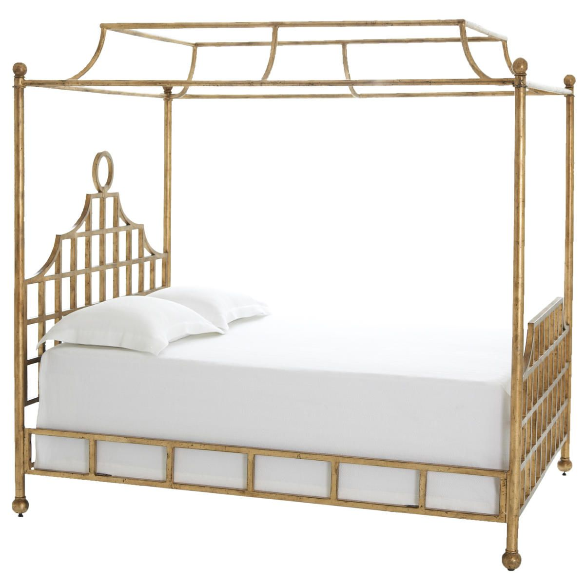 Pine Cone Hill | Atlas Canopy Metal Bed - Gold Finish | These metal bed frames  sc 1 st  Pinterest & Pine Cone Hill | Atlas Canopy Metal Bed - Gold Finish | These ...
