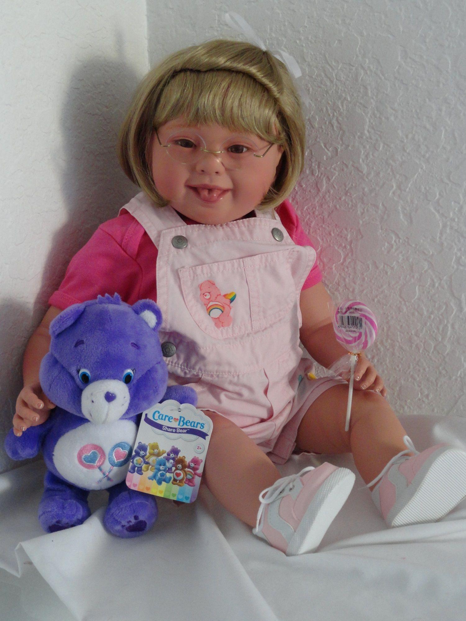 """Adorable reborn 22"""" Down Syndrome toddler girl doll """"Care Bear"""