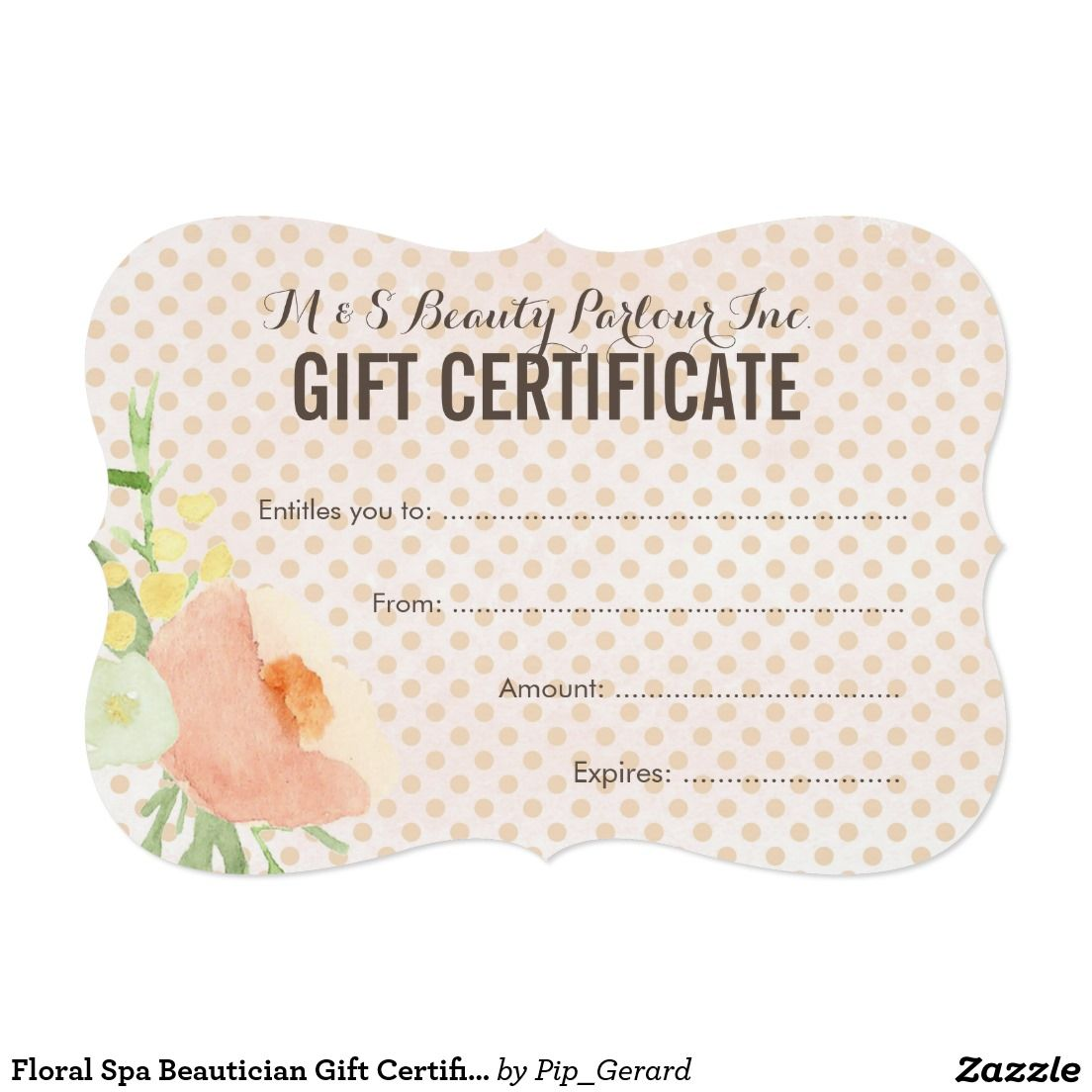 Floral spa beautician gift certificate template card my space floral spa beautician gift certificate template card xflitez Image collections