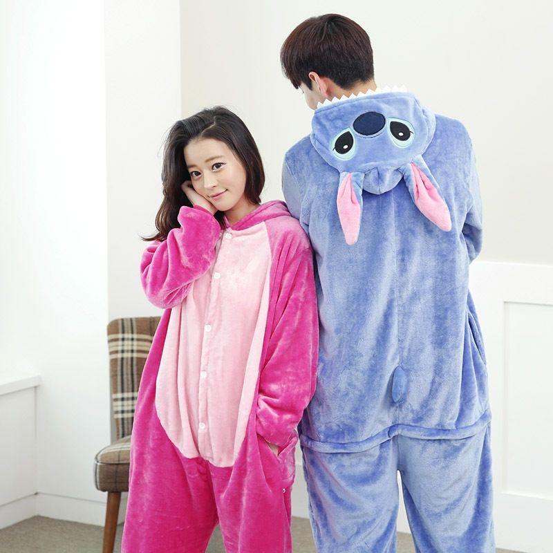 2afb9a5de Flannel Winter blue stitch cartoon Animal Pajama Sets Women and men ...