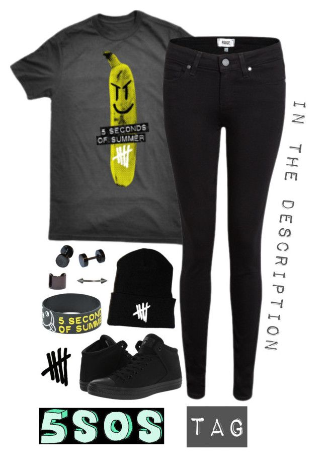 """""""5sos tag in the description"""" by alexdacko ❤ liked on Polyvore featuring Paige Denim, Converse, Hot Topic and Luv Aj"""