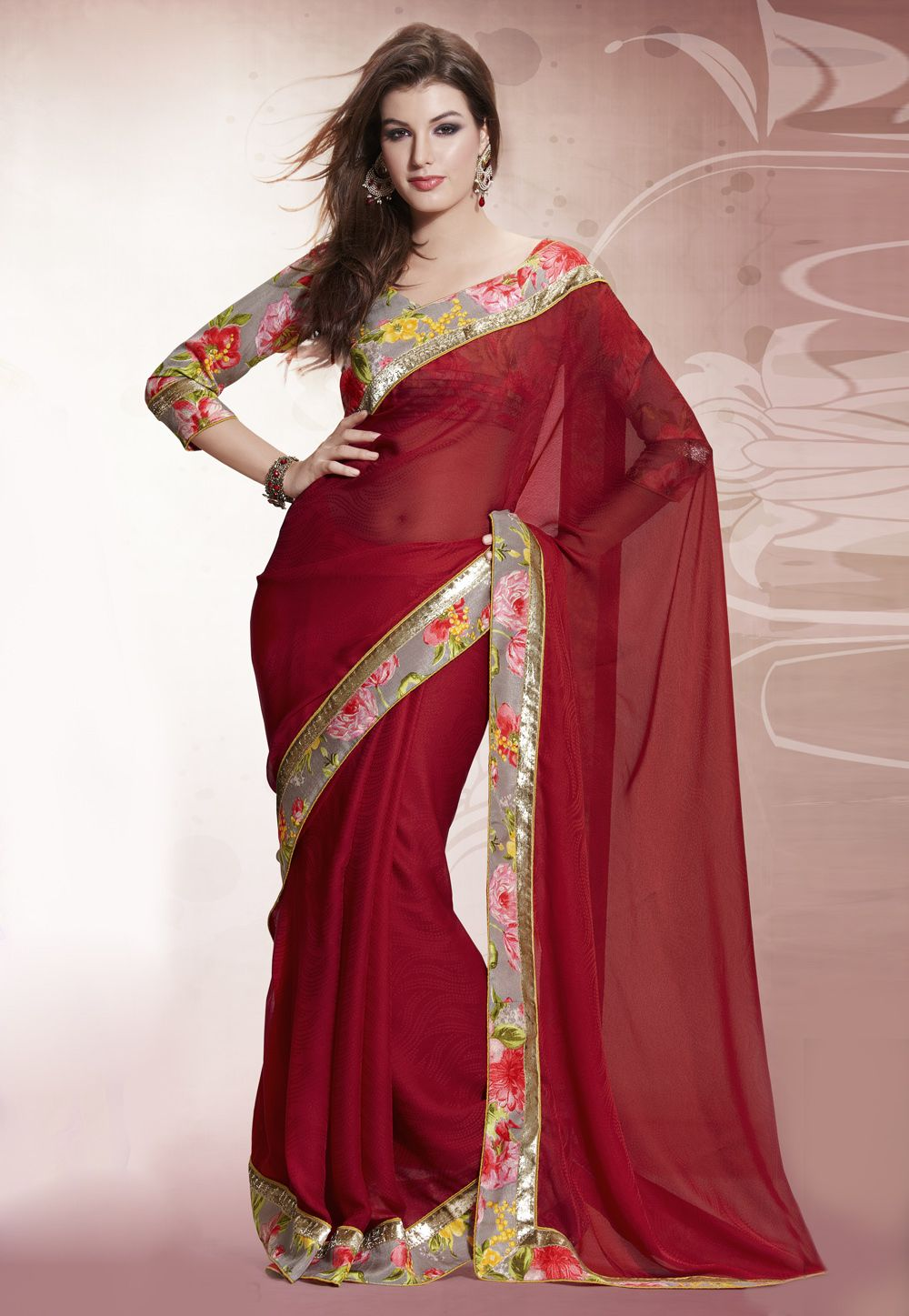 Dark Red Faux Georgette and Jacquard Saree With Blouse