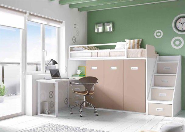 Habitaci n infantil con cama block alta habitaciones for Cama habitacion infantil