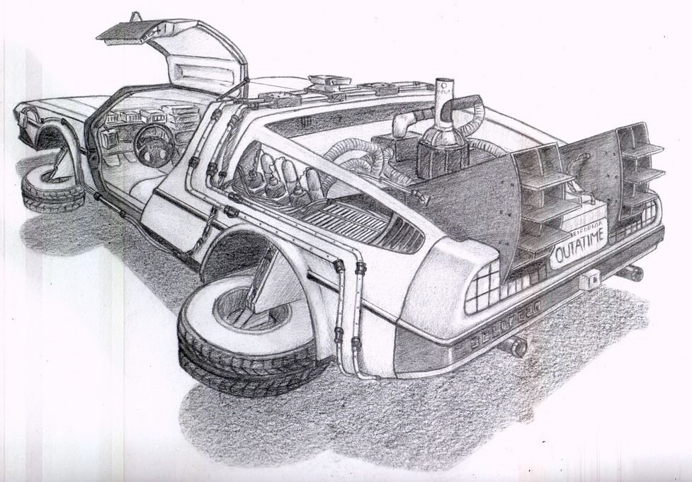 Delorean Exercise By Kirynaa D6sv3za Jpg 977 681 Pixel Delorean Car Drawing Pencil Back To The Future