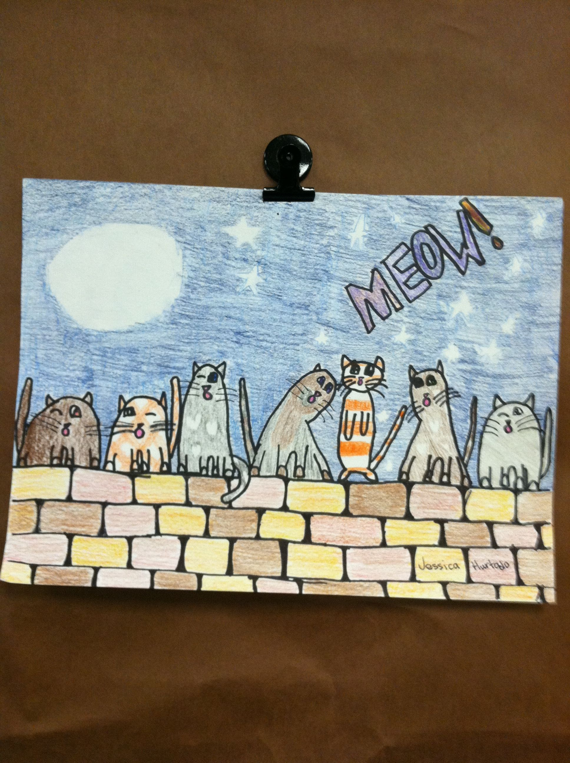4th gr. singing cats like this fence Animal art