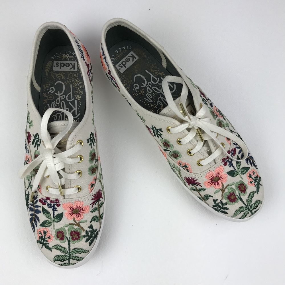 Keds X Rifle Paper Co. Champion Herb Garden - Size 7 Natural Embroidered