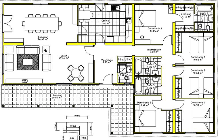 Planos vivienda una sola planta buscar con google for Casa de una sola planta planos