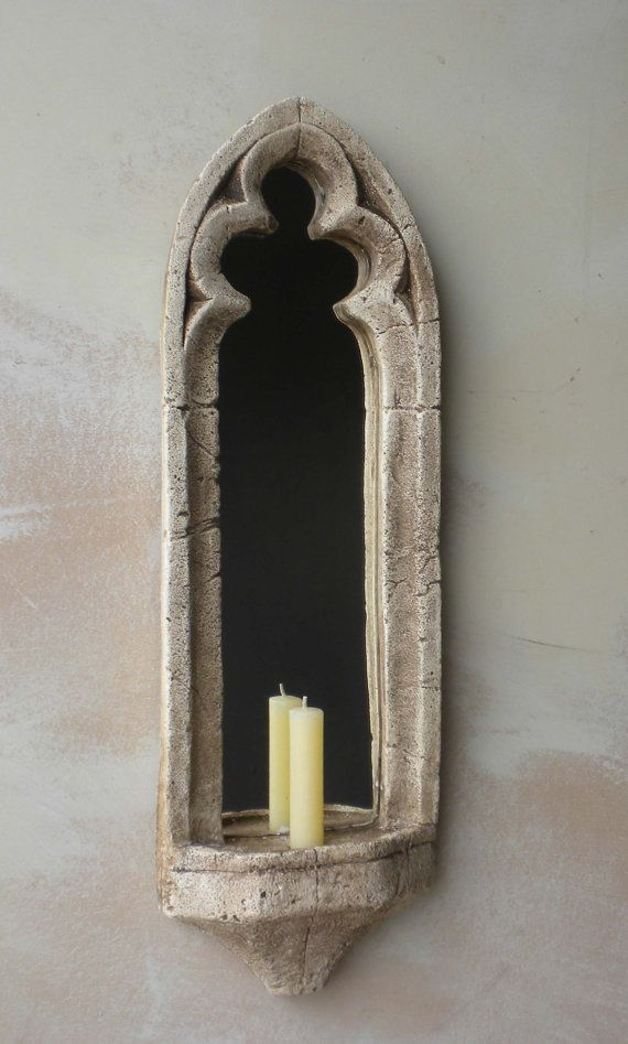 Two Gothic Mirrors Church Window Mirror Set Sconce Candle