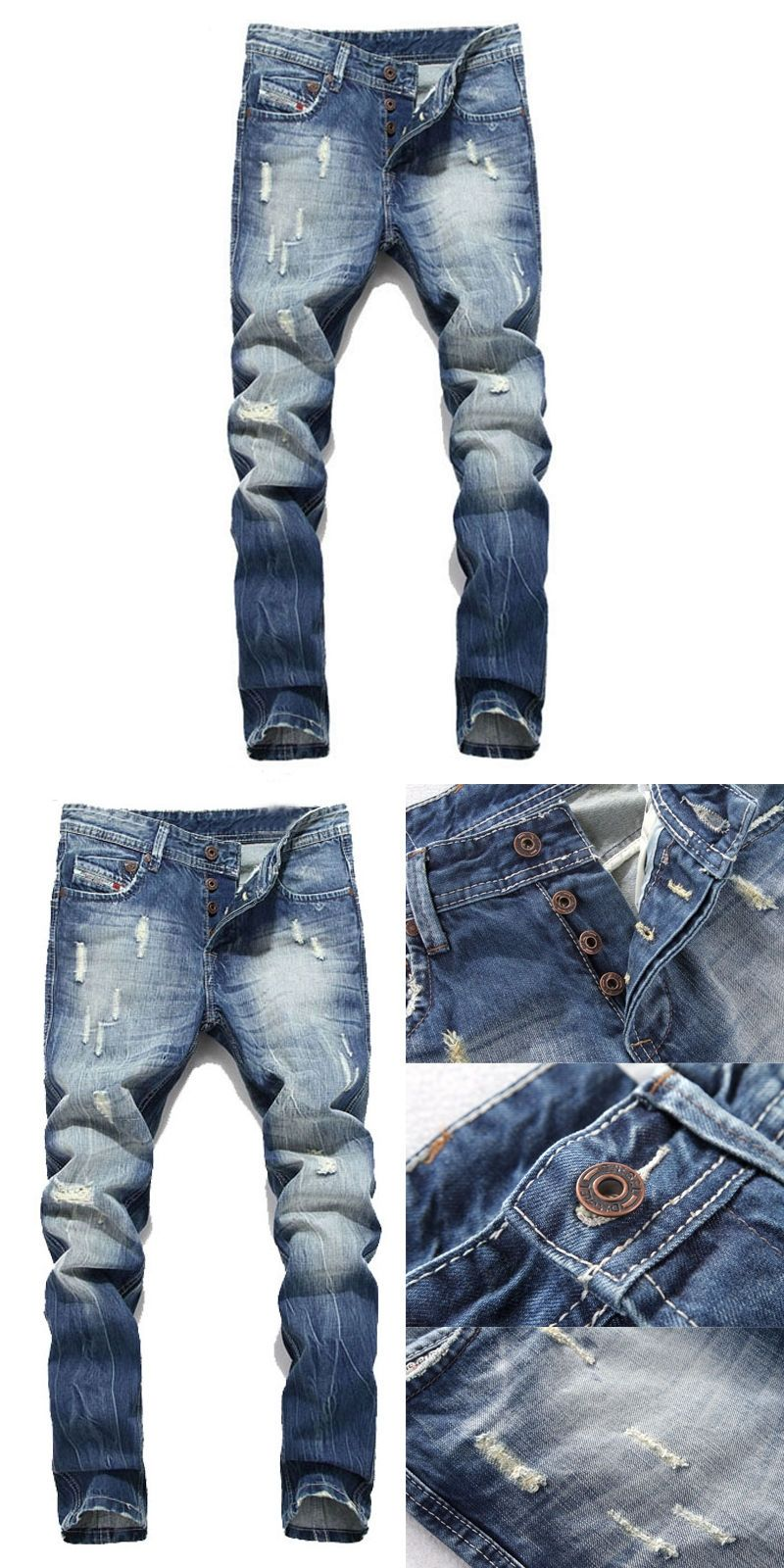 bd52064dc07 Men Pants Ripped Designer Skinny Jeans Stretch Denim Distress Frayed Biker  Jeans Boys Men
