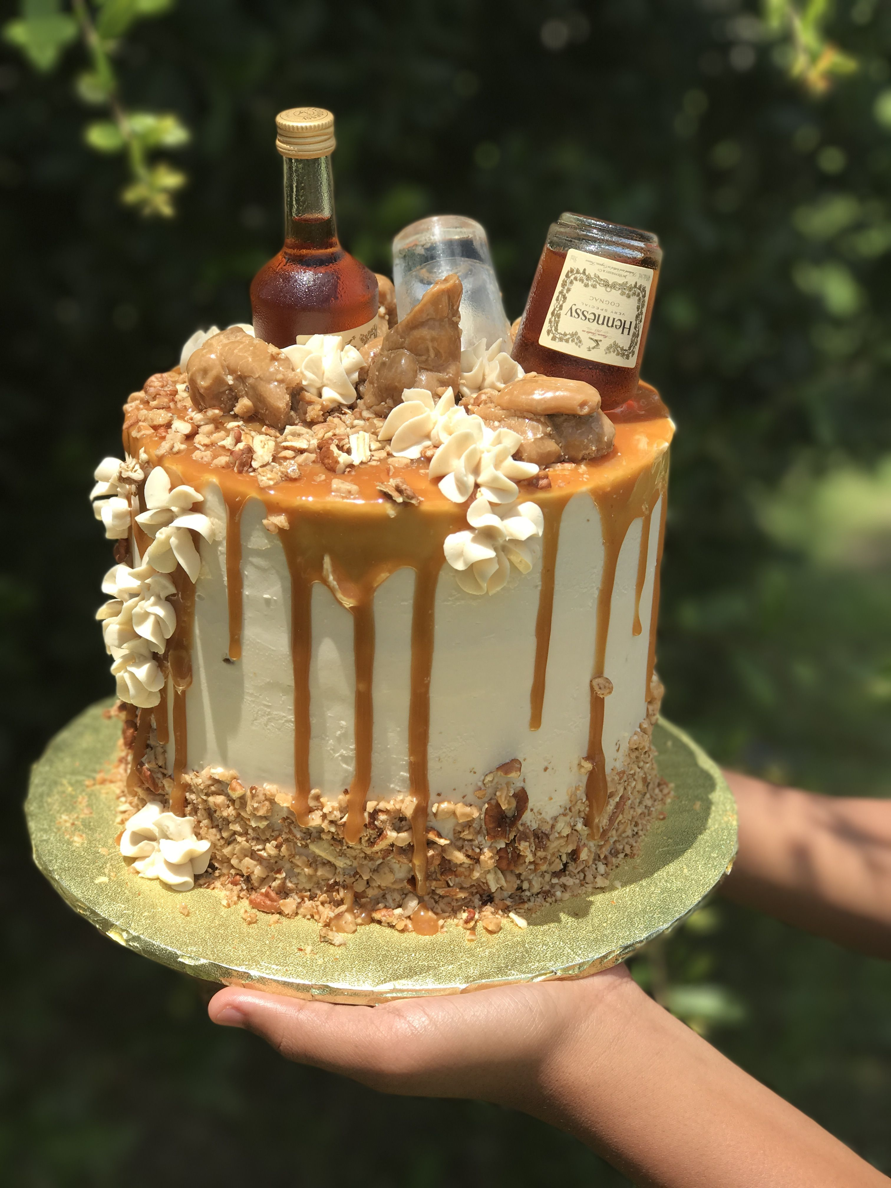 Sensational Hennessy Bourbon Caramel Pecan Toffee Cake Layers Of Butter Funny Birthday Cards Online Elaedamsfinfo