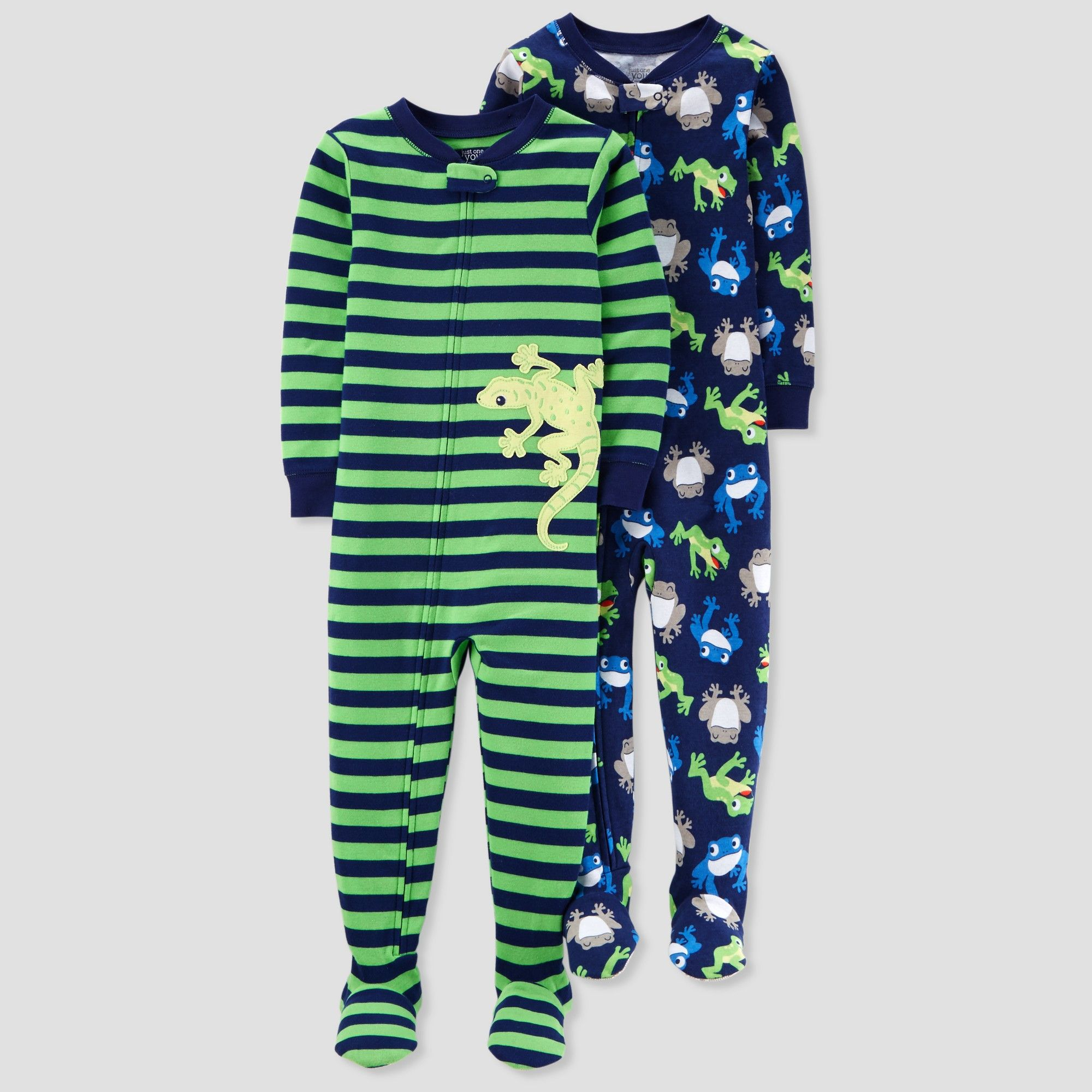 Baby Boys  2pk Lizard Stripe Footed Pajama Set - Just One You made by  carter s Green 18M 15fca76b4