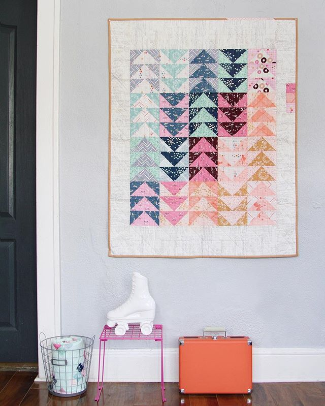The Playground LookBook came out today and I love this shot @artgalleryfabrics took of my flying geese quilt.  See all 50+ gorgeous pages of the LookBook by checking out agfblog.com (Also, make sure to enter the giveaway while you're there!!) #playgroundfabrics #artgalleryfabrics #agf 🎈💕