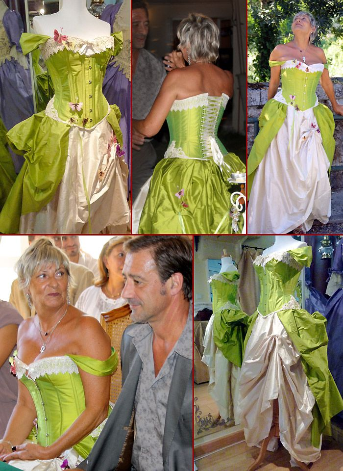 robe de mariee originale baroque verte corset volute orl ans loiret mariage vert anis blanc. Black Bedroom Furniture Sets. Home Design Ideas