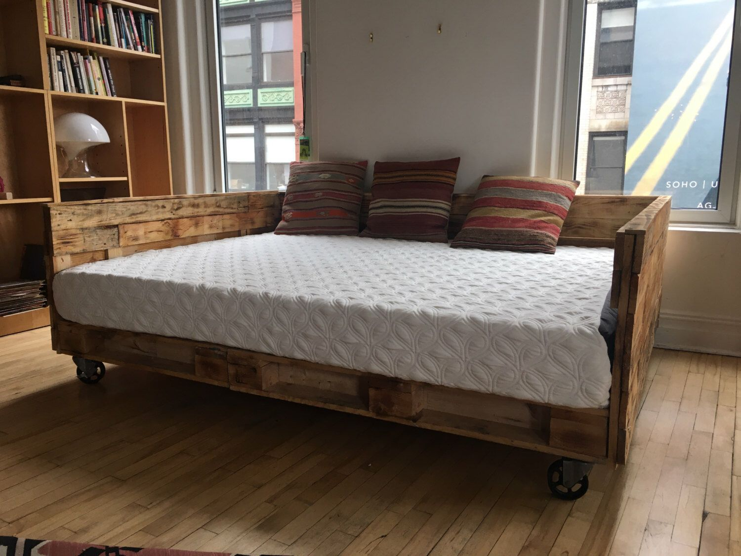 Industrial Pallet Daybed on Wheels Available in Queen