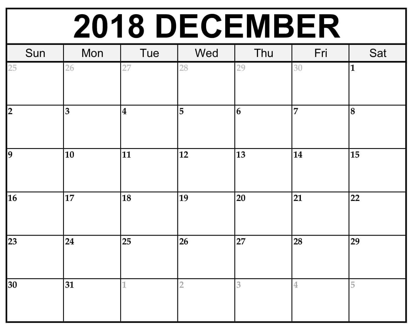 December Calendar 2018 Template Pdf Blue Frame December 2018