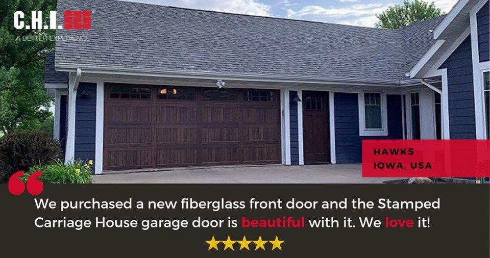 C H I Overhead Dark Oak Stamped Carriage House Garage Door Complements The Hawks Family S New F Garage Doors Carriage House Garage Doors Fiberglass Front Door