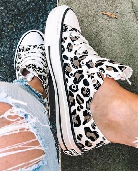 Photo of Leopard Printed Lace Up Sneakers – LOOK OF THE DAY