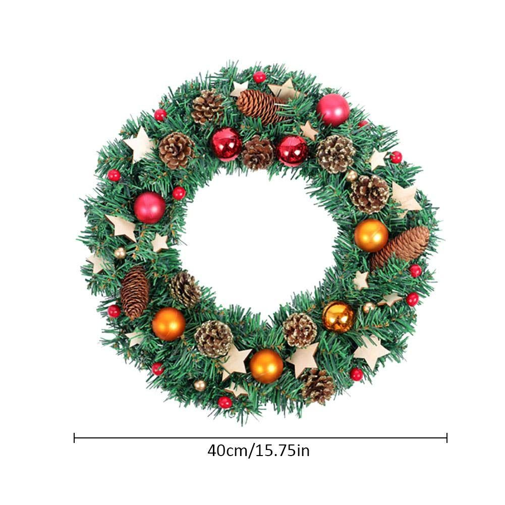 Xmas Wreath Front Door Hanging With Balls Stars Pineconechristmas Decoration For Mall Hotel Home Door Wi Christmas Decorations Wreaths Porch Wreath Wall Wreath