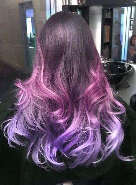 shatush viola lilla su base castana - shatush viola per capelli