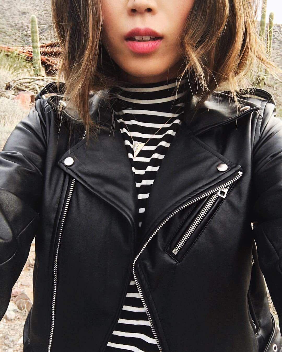 ea1df0dcfaf striped turtleneck and leather jacket combo