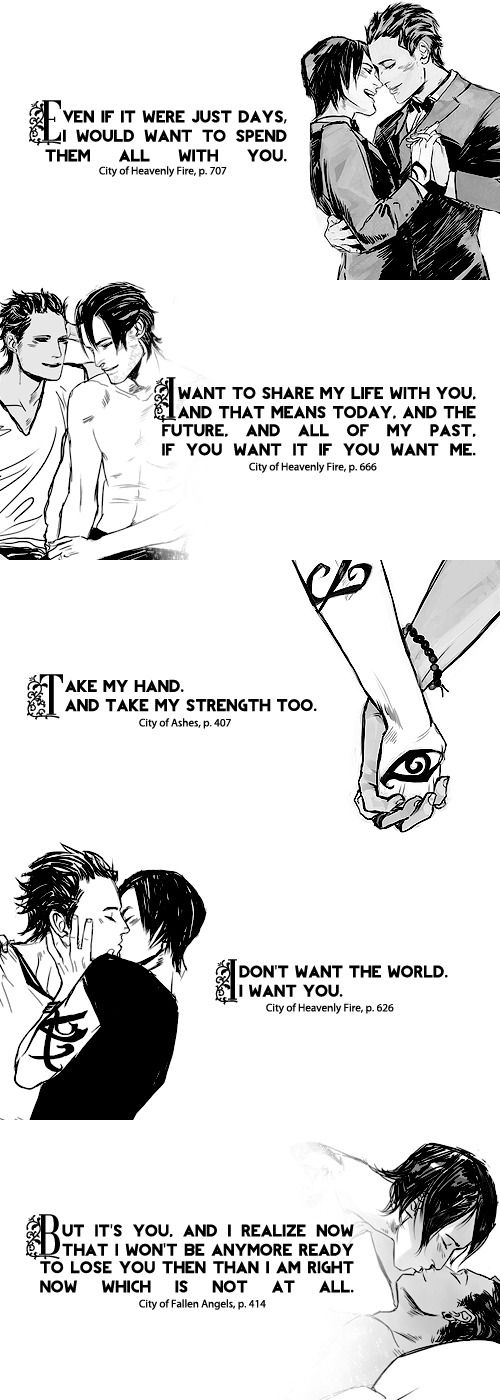 Malec quotes with drawings from Cassandra Jean