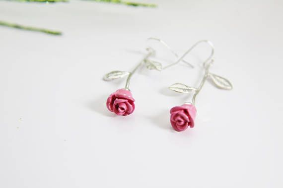Rose Gold Rose Earrings Rosebud Earrings Rose Gold Flower Rose