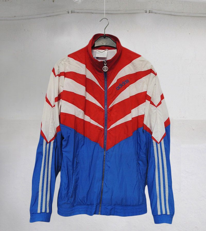 a43ce6d5d245 Vintage 90S Adidas Cut and Sew TRACKSUIT jacket Blue Red White sz L by VapeoVintage  on Etsy