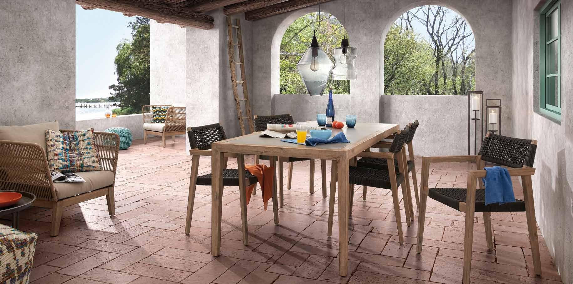 la forma julia grup mesa corvette en madera de acacia y polycemento muebles de exterior. Black Bedroom Furniture Sets. Home Design Ideas