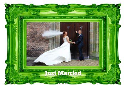 Fotolijst groen - Just Married - Trouwkaarten - Kaartje2go