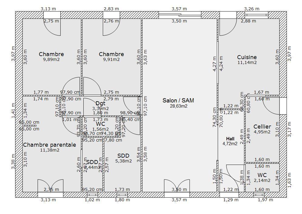 Aide pour aménagement plan maison de 9577 m² - 39 messages - Page 3 - Plan De Maison De 100m2 Plein Pied
